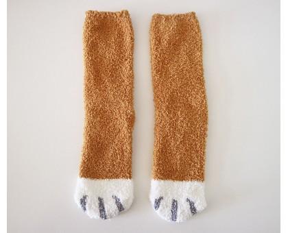 Теплые носочки Кошачьи лапки рыжего цвета с белыми пальцами