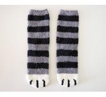 Носки Кошачьи лапки серые с черными полосками