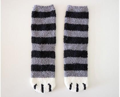 Милые теплые носки Кошачьи лапки серого цвета с белыми пальцами и черными полосками