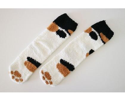 Мягкие носки с ворсом в виде кошачьих лапок, белые с черными и рыжими пятнами