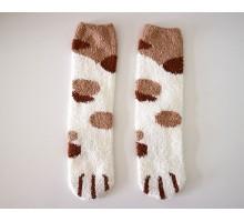 Носки Кошачьи лапки белые с рыжим