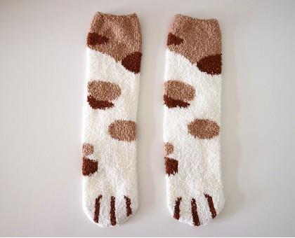 Мягкие теплые носки Кошачьи лапки белые с рыжими пятнами