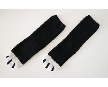 Женские носочки Кошачьи лапки черного цвета с белыми пальцами